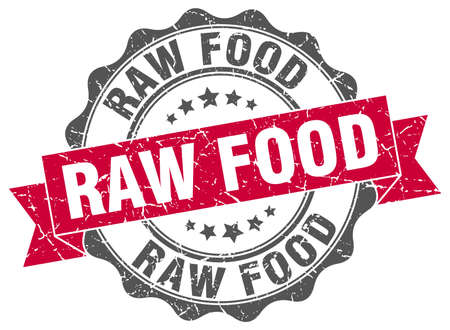 raw food: raw food stamp. sign. seal