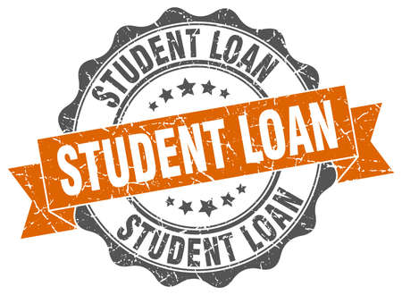 student loan: student loan stamp. sign. seal
