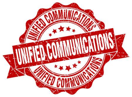 通信: ユニファイドコミュニケーションのスタンプです。署名します。シール  イラスト・ベクター素材