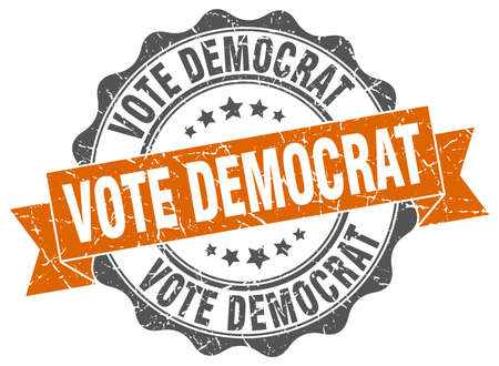 vote democrat stamp. sign. seal Illustration