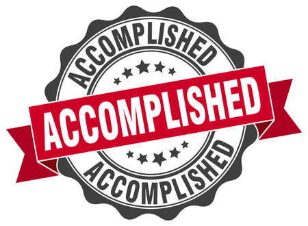 accomplish: accomplished stamp. sign. seal Illustration