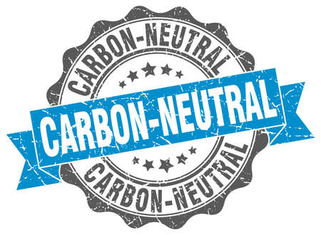 co2 neutral: carbon-neutral stamp. sign. seal