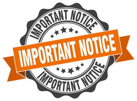 important: important notice stamp. sign. seal