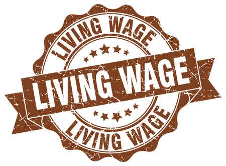 salarios: living wage stamp. sign. seal