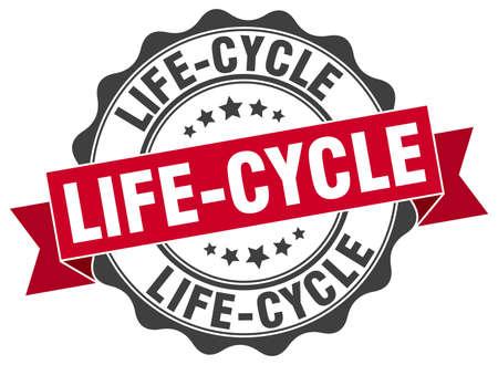 ciclo de vida: sello del ciclo de vida. firmar. sello