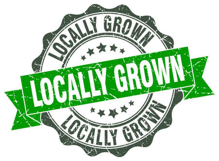 locally: locally grown stamp. sign. seal