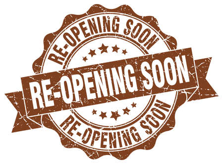 're: re-opening soon stamp. sign. seal Illustration