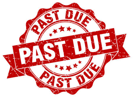 past due: past due stamp. sign. seal Illustration