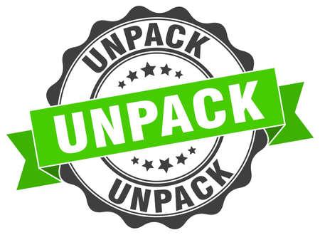 to unpack: unpack stamp. sign. seal Illustration