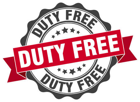 on duty: duty free stamp. sign. seal Illustration
