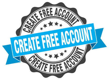 create: create free account stamp. sign. seal Illustration