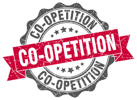 co operation: co-opetition stamp. sign. seal Illustration