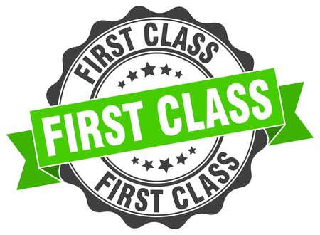 First-Class-Marke. Schild. Dichtung Vektorgrafik