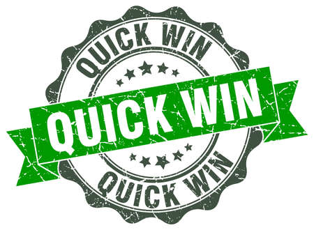 quick: quick win stamp. sign. seal