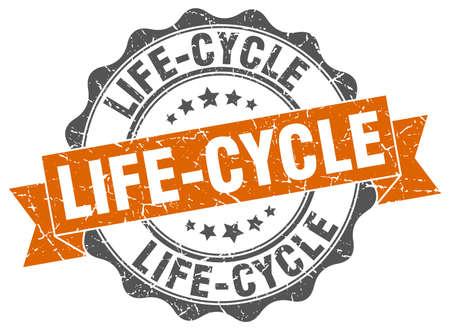 lifecycle: sello del ciclo de vida. firmar. sello
