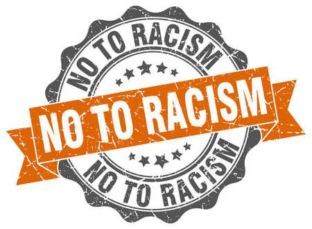 racismo: no a la marca de racismo. firmar. sello