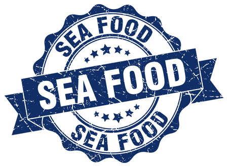 sea food: sea food stamp. sign. seal