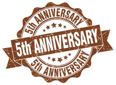 5th anniversary stamp. sign. seal Illustration