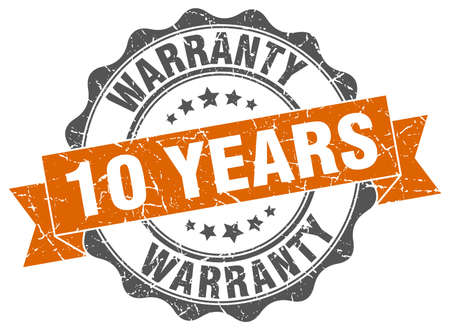 10 years: 10 years warranty stamp. sign. seal