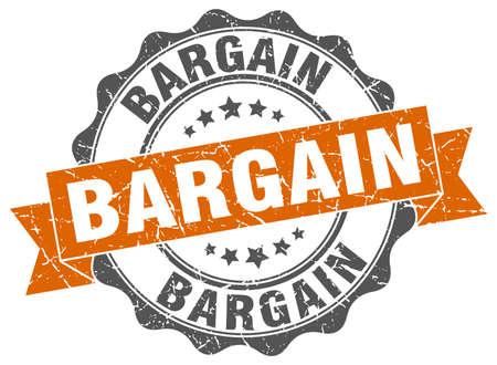 bargain: bargain stamp. sign. seal