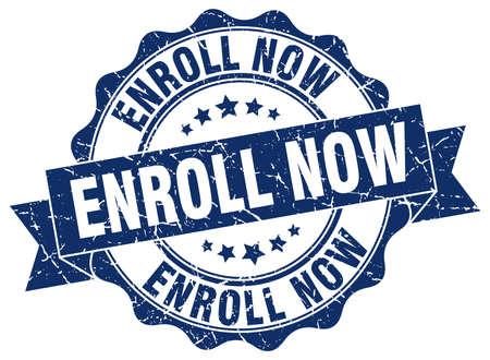 enroll: enroll now stamp. sign. seal Illustration