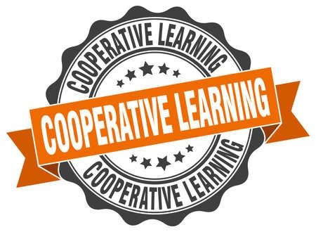 cooperativismo: sello de aprendizaje cooperativo. firmar. sello Vectores