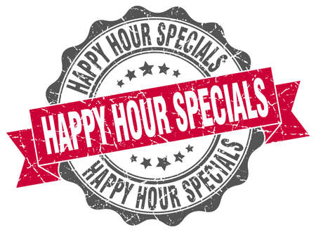 specials: happy hour specials stamp. sign. seal Illustration