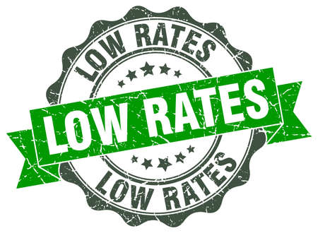 rates: low rates stamp. sign. seal Illustration