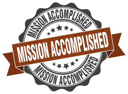 accomplish: mission accomplished stamp. sign. seal
