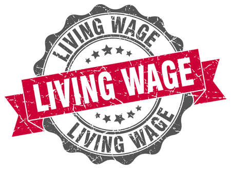 wage: living wage stamp. sign. seal