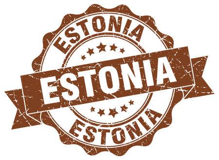Estonia round ribbon seal Illustration