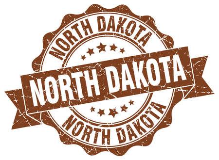 dakota: North Dakota round ribbon seal Illustration