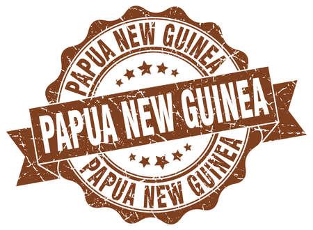 Nuova Guinea: Papua New Guinea round ribbon seal Vettoriali