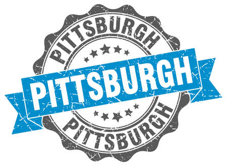 pittsburgh: Pittsburgh round ribbon seal Illustration
