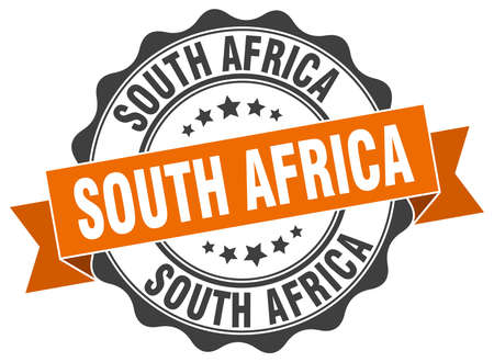 South Africa round ribbon seal Vetores