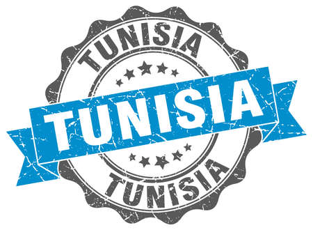 Tunisia round ribbon seal Illustration