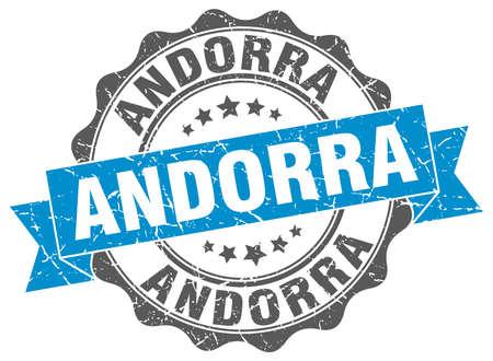 andorra: Andorra round ribbon seal Illustration