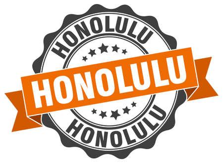 Honolulu round ribbon seal Illustration