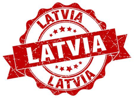 latvia: Latvia round ribbon seal