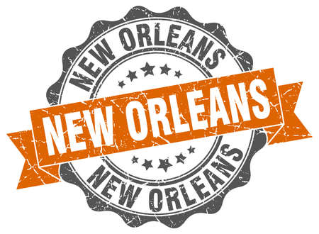 new orleans: New Orleans round ribbon seal Illustration