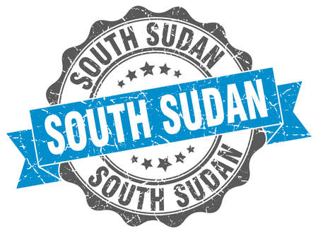 Sudan: South Sudan round ribbon seal Illustration