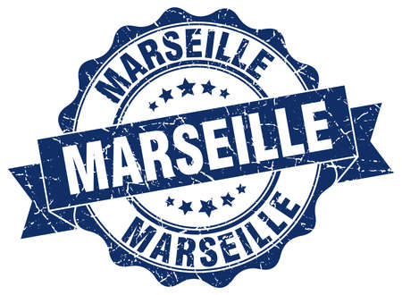 Marseille round ribbon seal Vector Illustration