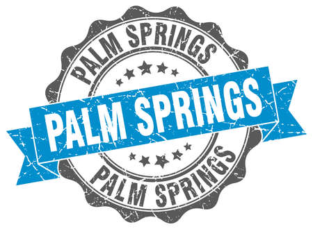 springs: Palm Springs round ribbon seal Illustration