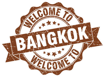 Bangkok round ribbon seal Illustration