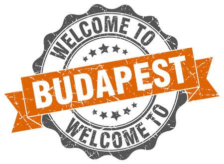 Budapest round ribbon seal Illustration