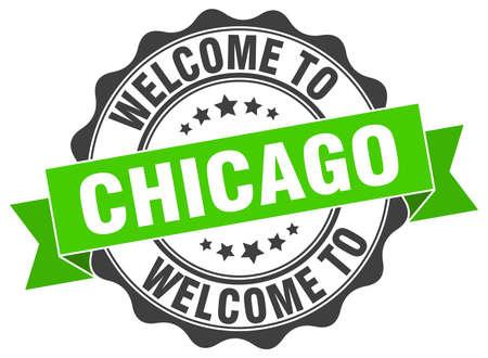 Chicago round ribbon seal Illustration