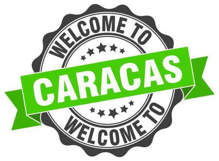 Caracas round ribbon seal Illustration