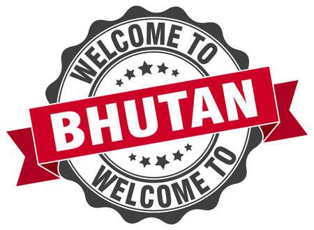 bhutan: Bhutan round ribbon seal Illustration