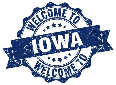 iowa: Iowa round ribbon seal Illustration
