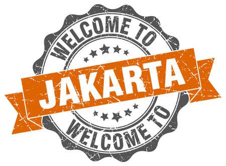 jakarta: Jakarta round ribbon seal Illustration